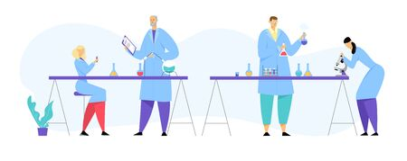 Chemistry Scientists, Professional People Characters Chemists or Doctors Research Medical Experiment in Scientific Laboratory with Contemporary Equipment, Researchers. Cartoon Flat Vector Illustration 向量圖像