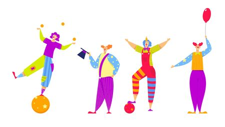 Set of Funny Characters in Costumes for Circus Show or Entertainment. Men and Women Clowns, Animators in Funny Clown Suit, Huge Boots, Curly Ginger Wig and Red Nose. Cartoon Flat Vector Illustration
