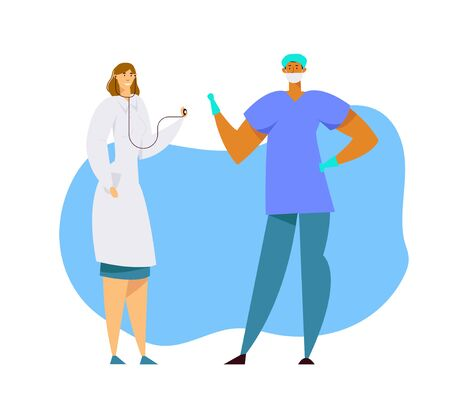 Hospital Healthcare Staff at Work, Female Doctor in Medical Robe with Stethoscope, Surgeon Character in Uniform and Gloves, Clinic, Medicine Profession, Occupation. Cartoon Flat Vector Illustration  イラスト・ベクター素材