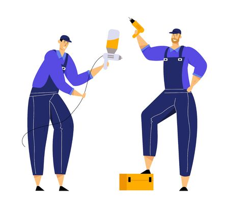 Mechanics Characters Dressed in Blue Overalls Holding Drill and Spray Gun, Repair Service Staff with Instruments in Hand, Auto Checking and Maintenance, Car Fixing. Cartoon Flat Vector Illustration
