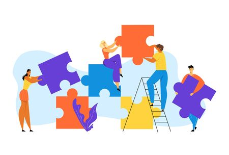People Group Stand on Ladder Together Set Up Huge Colorful Separated Puzzle Pieces. Businesspeople Teamwork, Office Employees Cooperation, Collective Work, Partnership Cartoon Flat Vector Illustration