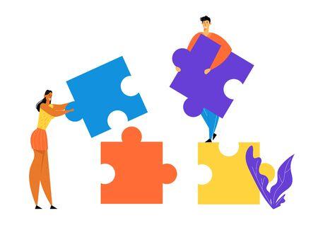 Les gens de bureau travaillent ensemble pour mettre en place d'énormes pièces de puzzle colorées séparées. Hommes d'affaires dans le travail d'équipe de lieu de coworking, coopération, travail collectif, illustration de vecteur plat de dessin animé de partenariat