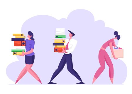 Business Man and Woman Carry Big Heap of Documents Files. Fired Sad Businesswoman with Box Leaving Office, Company Employees at Work, Busy Day, Disorganized Manager. Cartoon Flat Vector Illustration