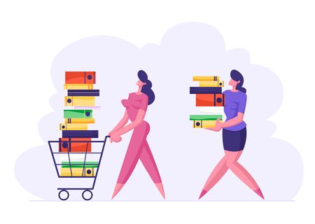 Businesswoman Pushing Shopping Cart Full of Documentation. Woman Carry Big Stack of Documents Folders, Busy Office People Characters, Company Employees Deadline. Cartoon Flat Vector Illustration