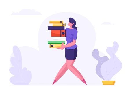 Woman Carry Big Heap of Documents Files. Businesswoman, Secretary Character, Office Employee at Work, Very Busy Day, Accounting Bureaucracy, Disorganized Manager. Cartoon Flat Vector Illustration Ilustracja