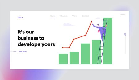 Business Man Stand on Ladder Lean to Column Chart Paint Growing Curve Line. Businessman Work on Financial Profit Statistic Website Landing Page Set, Web Page. Cartoon Flat Vector Illustration, Banner