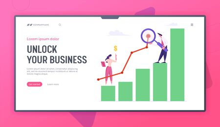 Business Man with Magnifying Glass and Woman Marketing Solution Development. Working on Growth Data Analysis Arrow Graph, Website Landing Page Set, Web Page. Cartoon Flat Vector Illustration, Banner 일러스트