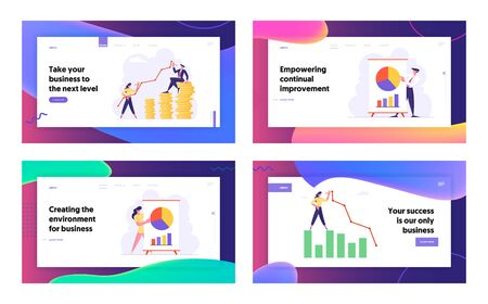 Finance Success, Money Wealth Growing, Business Meeting, Project Presentation, Concept, Business People Data Analysis Website Landing Page Set, Web Page. Cartoon Flat Vector Illustration, Banner