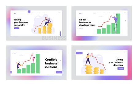 Money Wealth Diagram, Growth Data Analysis Arrow Graph Concept, Website Landing Page Set, Financial Profit Statistic Marketing Solution Development, Web Page. Cartoon Flat Vector Illustration, Banner 스톡 콘텐츠 - 129762463