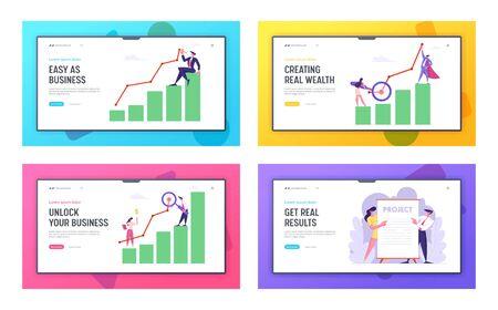 Business Presentation, Marketing Solution Development Website Landing Page Set, Employees Performing New Project Idea, Data Analysis Arrow Graph, Web Page, Cartoon Flat Vector Illustration, Banner