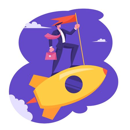 Businessman with Briefcase and Red Flag in Hand Riding Gold Rocket in Sky. Business Leadership, Creative Startup Launch. Character Start Successful Project Development Cartoon Flat Vector Illustration 스톡 콘텐츠 - 129762465