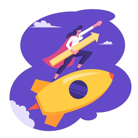 Startup Concept with Happy Superhero Businessperson Character Flying on Rocket in Sky with Arrow Underarm . Business Woman Launching New Project Successful Start Up. Cartoon Flat Vector Illustration Illustration