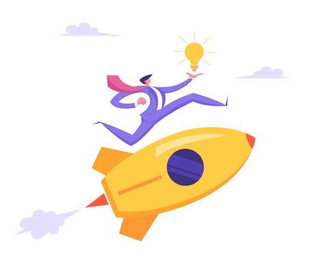 Start Up Idea Concept. Business Project with Rocket and Businessman Character Run with Lighting Bulb in Hand. New Product or Service Launch, Goal Achievement, Insight. Cartoon Flat Vector Illustration 일러스트