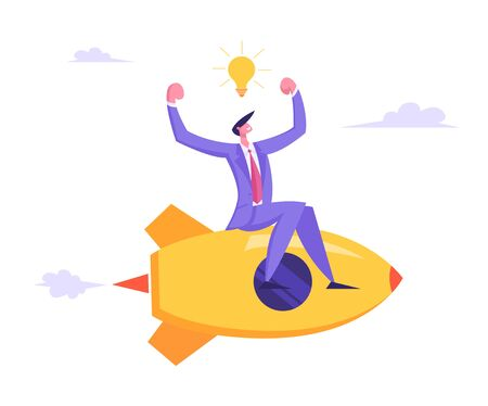 Businessman with Light Bulb over Head Demonstrating Muscles Flying on Rocket Engine Racing to Success, Business Competition, Creative Idea, Project, Challenge Concept Cartoon Flat Vector Illustration