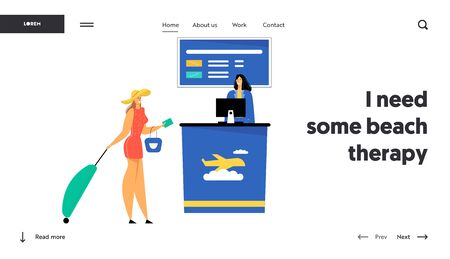Woman Passenger with Luggage Giving Document and Avia Ticket for Flight Registration to Friendly Staff in Airport, Check in Website Landing Page, Web Page. Cartoon Flat Vector Illustration, Banner
