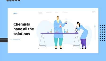 Chemistry Scientists Conducting Experiment in Science Laboratory, Man Holding Flasks Woman Technician Look in Microscope Website Landing Page, Web Page. Cartoon Flat Vector Illustration, Banner Stock Illustratie