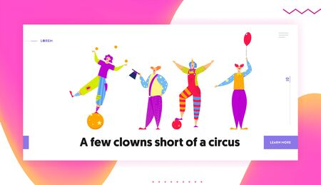 Funny Characters in Costumes for Circus Show or Entertainment. Clowns, Animators in Clown Suit, Curly Ginger Wig and Red Nose. Website Landing Page, Web Page. Cartoon Flat Vector Illustration, Banner Stock Vector - 126800417