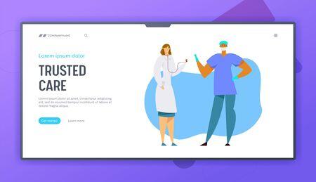 Personel szpitala w pracy, lekarz w szacie medycznej ze stetoskopem, postać chirurga w mundurze i rękawiczkach, strona docelowa witryny kliniki, strona internetowa. Ilustracja kreskówka płaskie wektor, baner