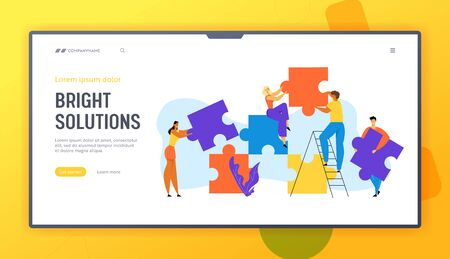 People Group Set Up Huge Puzzle Pieces. Businesspeople Teamwork, Office Employees Cooperation, Collective Work, Partnership Website Landing Page, Web Page. Cartoon Flat Vector Illustration, Banner