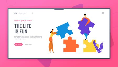Office People Work Together Setting Up Colorful Separated Puzzle Pieces. Teamwork, Cooperation, Collective Work, Partnership Website Landing Page, Web Page. Cartoon Flat Vector Illustration, Banner Ilustrace