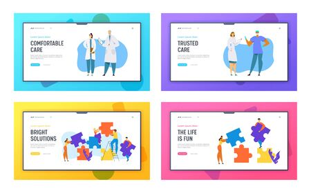 Hospital Healthcare Staff, Doctors, Surgeon Characters, People Group Set Up Puzzle Pieces. Website Landing Page Set, Science Laboratory, Teamwork, Web Page. Cartoon Flat Vector Illustration, Banner