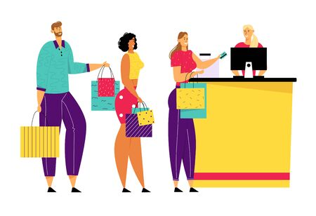 Shopping Queue in Supermarket, Male and Female Customer Characters with Goods in Paper Bags Stand at Cashier Desk Paying for Purchases Credit Cards. Sale, Consumerism. Cartoon Flat Vector Illustration