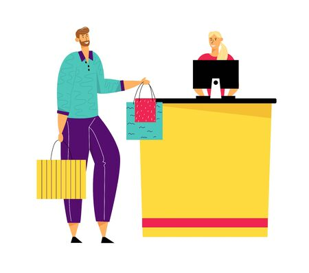 Male Customer Character with Goods in Paper Shopping Bags Stand in Supermarket or Boutique Queue at Cashier Desk with Seller Paying for Purchases. Sale, Consumerism. Cartoon Flat Vector Illustration