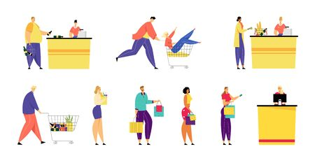 Customers Stand in Queue in Supermarket and Grocery with Goods in Shopping Paper Bags and Trolley at Cashier Desk Paying for Purchases Credit Cards. Sale, Consumerism. Cartoon Flat Vector Illustration Archivio Fotografico - 129762487