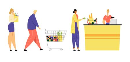 Customers Stand in Line at Grocery or Supermarket Turn with Goods in Shopping Trolley Put Buys on Cashier Desk for Paying, Purchases, Sale, Consumerism, Queue in Store Cartoon Flat Vector Illustration Ilustração