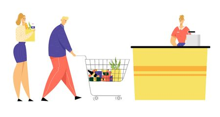 Customers with Food in Queue at Cashier Desk with Cashier Assistant at Grocery Store or Supermarket. Male and Female Characters with Shopping Baskets in Line at Shop. Cartoon Flat Vector Illustration Illustration