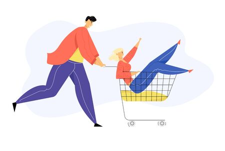 Couple of Teenagers Fool in Supermarket Riding Trolley. Happy Man Pushing Shopping Cart with Girlfriend Sitting inside. Teens Happy Sparetime, Leisure, Vacation, Fun. Cartoon Flat Vector Illustration