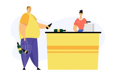 Customer Male Character with Alcohol Bottles in Shopping Basket Pay for Purchases on Cashier Desk with Shop Assistant Scanning Products. Man Visit Grocery, Supermarket Cartoon Flat Vector Illustration Ilustração