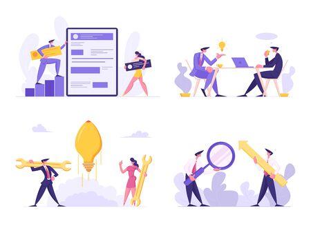 Web Software Development, Business Meeting, Start Up Idea, Data Analysing Concept Set. Developer Characters Build Website with Social Media, Light Bulb Rocket Launch, Cartoon Flat Vector Illustration