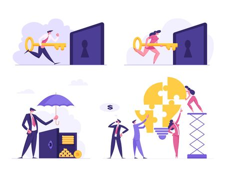 Money Savings, Teamwork, Business Solution, Creative Idea Set. Businesspeople Put Key to Lock Hole, Cover Safe with Umbrella, Set Up Light Bulb Puzzle Pieces, Success. Cartoon Flat Vector Illustration Ilustrace