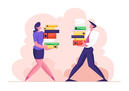 Man and Woman Carry Big Heap of Documents Files. Business People Characters, Office Employee at Work, Very Busy Day, Accounting Bureaucracy, Manager New Job Position. Cartoon Flat Vector Illustration  イラスト・ベクター素材