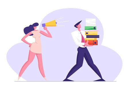Businesswoman Shouting in Megaphone on Office Employee Carrying Huge Pile of Documentation Folders. Deadline, Boss, Company Leader Hurry Worker with Job, Overwork Character Flat Vector Illustration