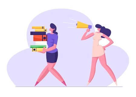 Businesswoman Yelling in Loudspeaker on Woman Office Worker Carrying Big Steak of Document Files. Deadline, Boss, Company Leader Hurry Employee with Job, Overwork Manager Flat Vector Illustration