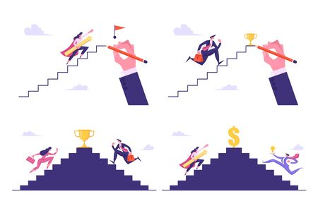 Leadership, Success, Challenge Set, Business People Run to Top of Ladder to Take Award, Businesspeople Climbing Upstairs to Reach Goal Concept, Competition. Cartoon Flat Vector Illustration, Banner