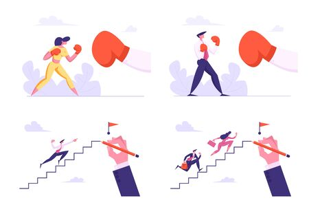 Business People Boxing with Big Glove and Climbing Upstairs to Top. Man and Woman Characters Fighting. Business Competition, Challenge, Leadership, Power Concept, Cartoon Flat Vector Illustration