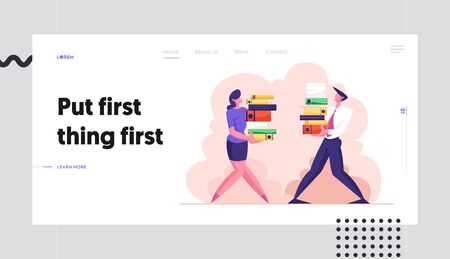 Man and Woman Carry Big Heap of Documents Files. Business People Characters, Office Employee at Work, Busy Day, Bureaucracy Website Landing Page, Web Page. Cartoon Flat Vector Illustration, Banner