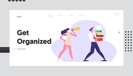 Businesswoman Shouting in Megaphone on Office Employee Carrying Huge Pile of Documentation Folders. Deadline, Worker with Job, Website Landing Page, Web Page. Cartoon Flat Vector Illustration, Banner Ilustracja