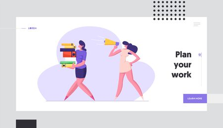 Businesswoman Yelling in Loudspeaker on Woman Office Worker Carrying Big Steak of Document Files. Deadline, Overwork Manager Website Landing Page, Web Page. Cartoon Flat Vector Illustration, Banner