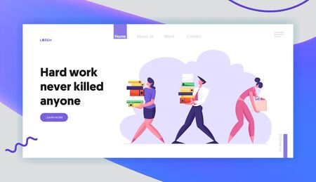 Business Man and Woman Carry Big Heap of Documents Files. Fired Sad Businesswoman with Box Leaving Office, Employees at Work, Website Landing Page, Web Page. Cartoon Flat Vector Illustration, Banner Illustration