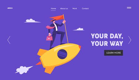 Businessman with Briefcase and Red Flag Riding Gold Rocket in Sky. Business Leadership, Startup Launch. Project Development Website Landing Page, Web Page. Cartoon Flat Vector Illustration, Banner
