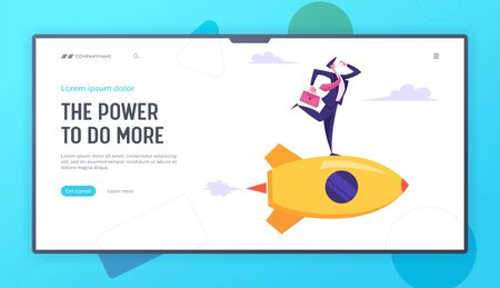 Creative Business Innovation Startup. Business Man Character with Briefcase in Hand Speaking Smartphone Flying on Rocket to Aim Website Landing Page, Web Page. Cartoon Flat Vector Illustration, Banner
