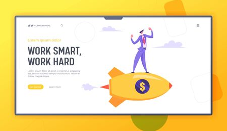 Business Competition Concept. Businessman Demonstrating Muscles Flying on Rocket Engine with Dollar Sign on Board, Success, Website Landing Page, Web Page. Cartoon Flat Vector Illustration, Banner