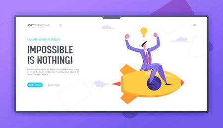 Business Competition Concept. Businessman Demonstrate Muscles Flying on Rocketship, Racing to Financial Success, Challenge. Website Landing Page, Web Page. Cartoon Flat Vector Illustration, Banner