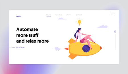 Relaxed Businesswoman with Light Bulb over Head Flying on Rocket Engine Racing to Success, Creative Business Idea Concept Website Landing Page, Web Page. Cartoon Flat Vector Illustration, Banner