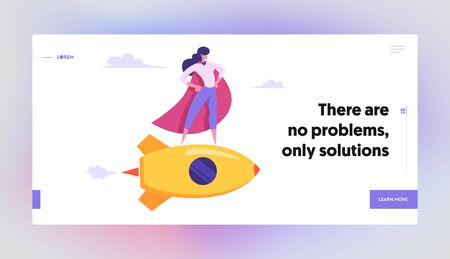 Female Superhero in Red Cloak, Super Employee Girl with Arms Akimbo Flying on Gold Rocket, Business Success, Leadership Concept Website Landing Page, Web Page. Cartoon Flat Vector Illustration, Banner Vettoriali