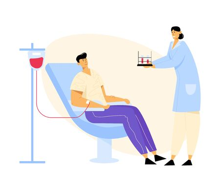 Man Donate Blood, Nurse Character Carrying Test Tubes with Lifeblood. Male Donor Sitting in Medical Chair. Healthcare, Charity. Transfusion, Donation Laboratory. Cartoon Flat Vector Illustration